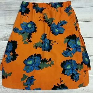 Topshop Skirt sz 6 orange with blue floral print